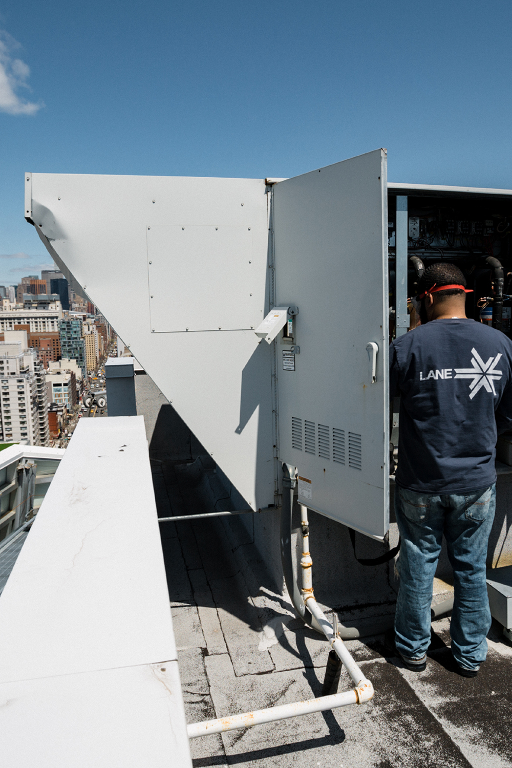 Servicing a Rooftop Heating Unit